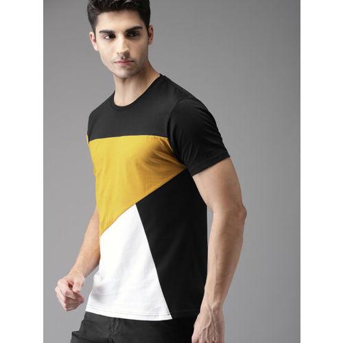 HERE&NOW Men Black & Mustard Yellow Colourblocked Round Neck T-shirt