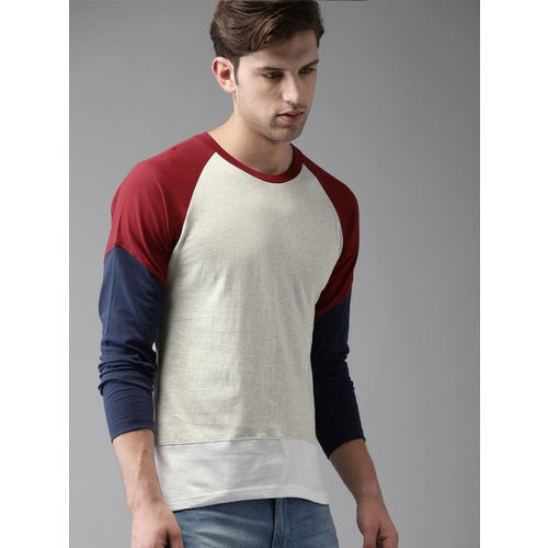 HERE&NOW Men Grey Melange Solid Round Neck T-shirt