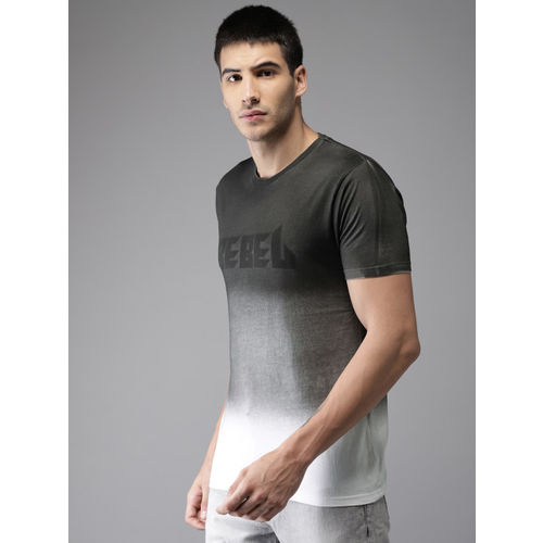 HERE&NOW Men Charcoal Grey & White Dyed Round Neck T-shirt