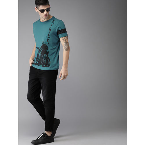 HERE&NOW Men Teal Round Neck Printed T-shirt