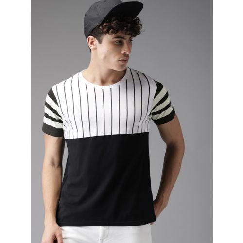 HERE&NOW Men Black & White Colourblocked Round Neck T-shirt