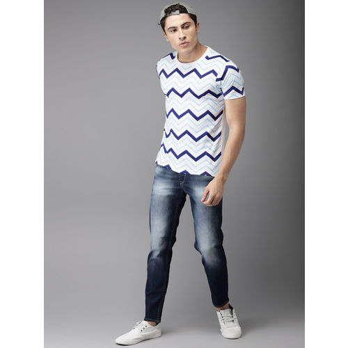 HERE&NOW Men White Printed Round Neck T-shirt