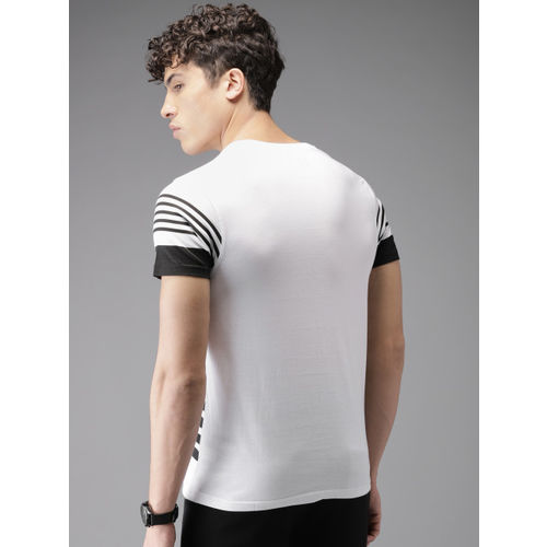 HERE&NOW Men White & Black Striped Round Neck T-shirt