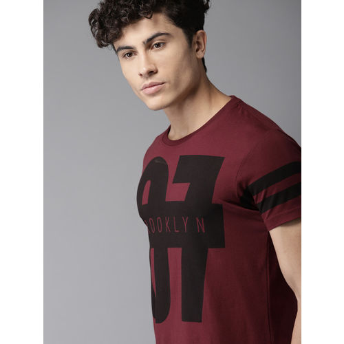 HERE&NOW Men Maroon Printed Round Neck T-shirt