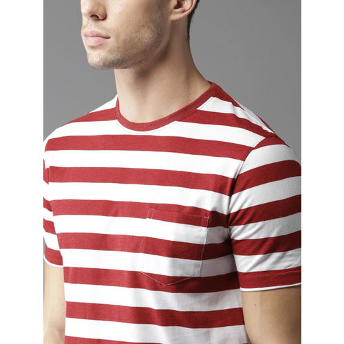 HERE&NOW Men Maroon & White Striped Round Neck T-shirt