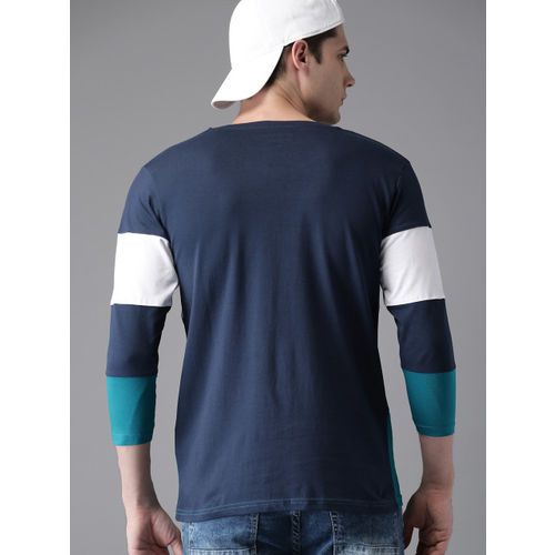 HERE&NOW Men White & Blue Colourblocked Round Neck T-shirt