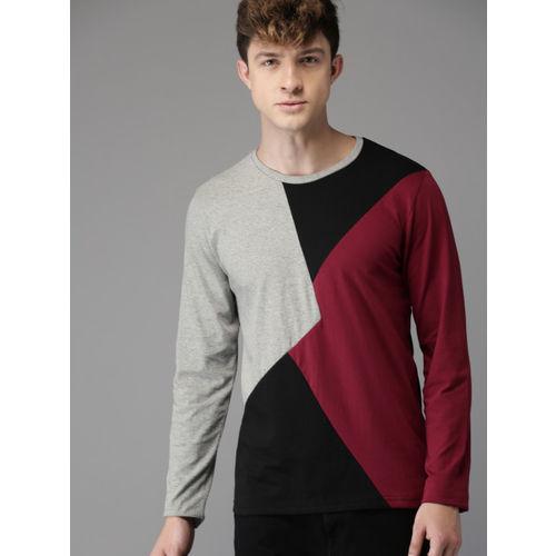 HERE&NOW Men Grey Melange Colourblocked Round Neck T-shirt