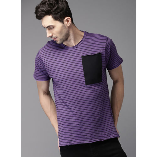 HERE&NOW Purple Striped Round Neck T-Shirt