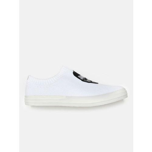 Kook N Keech Men White Slip-On Sneakers