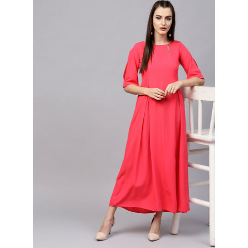 GERUA Coral PolyCrepe Solid Shift Dress