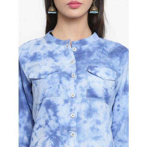 Indibelle Women Blue Dyed Straight Kurta