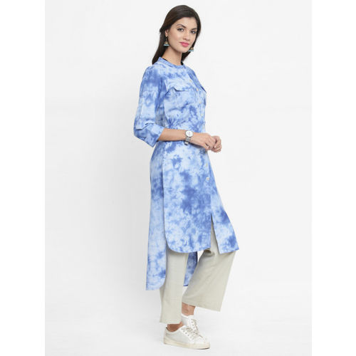 Indibelle Women Blue Dyed Straight Kurta