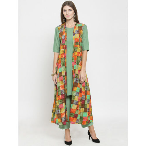 Indibelle Women Multicoloured Printed Layered A-Line Kurta