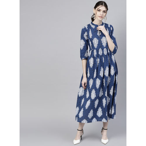 GERUA Blue & White Printed A-Line Dress
