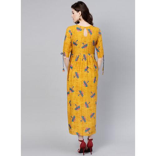 GERUA Mustard Yellow & Blue Printed Maxi Dress