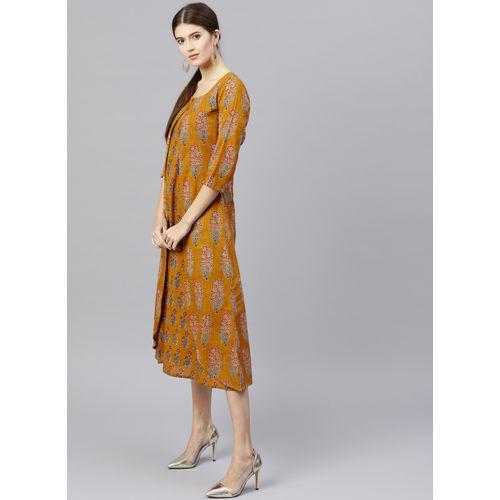 GERUA Mustard Printed Shift Dress