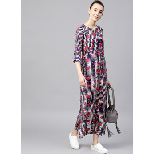 4f6c92d8bae Buy GERUA Navy Blue   White Floral Print Maxi Dress online ...