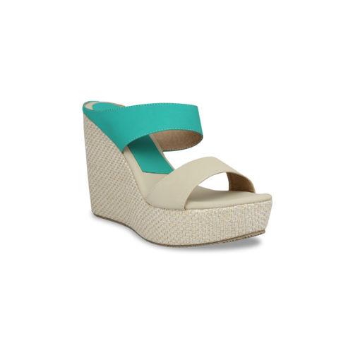 pelle albero Women Beige & Green Colourblocked Sandals