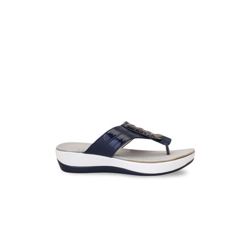 pelle albero Women Navy Blue Solid Sandals