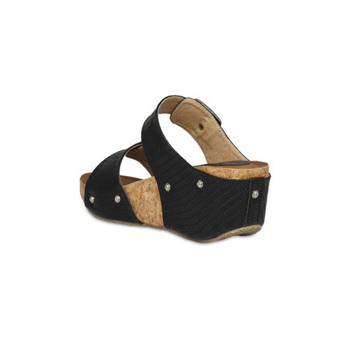 Pelle Albero Women Black Solid Wedges