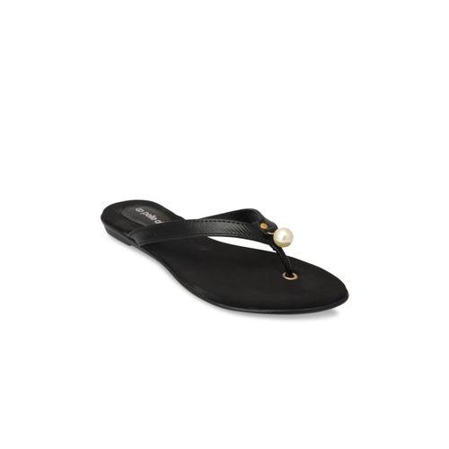 pelle albero Women Black Solid Synthetic Open-Toed Flats