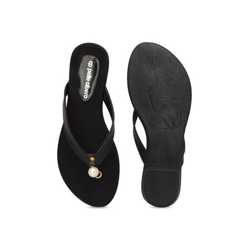 pelle albero Women Black Solid Synthetic Open-Toed Flats