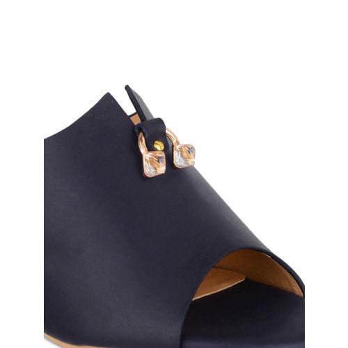 Sherrif Shoes Women Navy Blue Solid Mules
