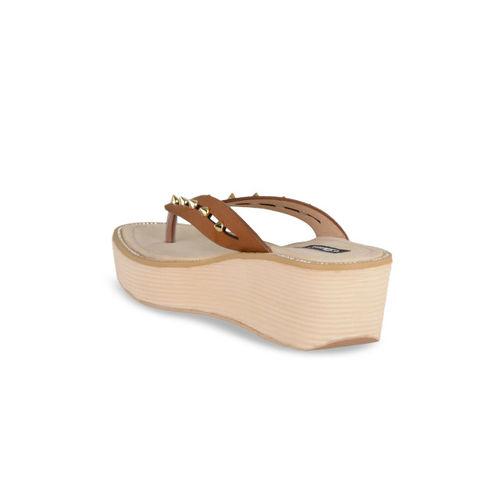 Sherrif Shoes Women Tan Solid Wedges
