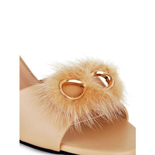 Sherrif Shoes Women Beige Embellished Sandals