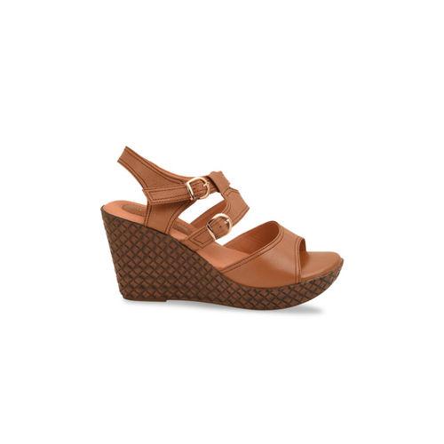 pelle albero Women Khaki Solid Sandals