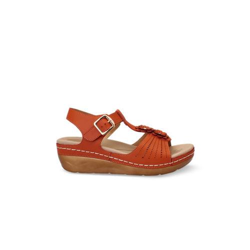 pelle albero Women Rust Brown Solid Sandals