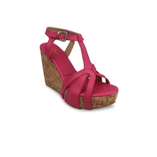 pelle albero Women Fuchsia Solid Sandals