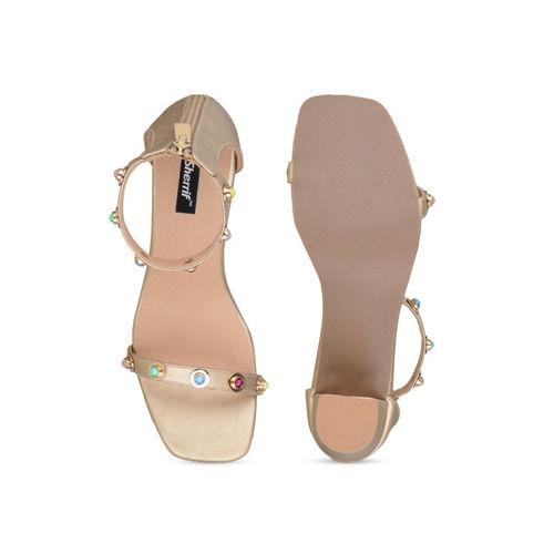 Sherrif Shoes Women Gold-Toned Embellished Heels