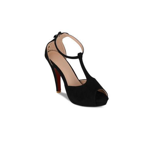 Sherrif Shoes Women Black Solid Peep Toes