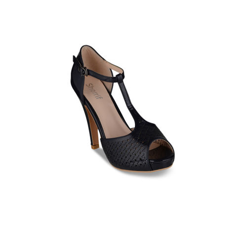 Sherrif Shoes Women Navy Blue Solid Peep Toes