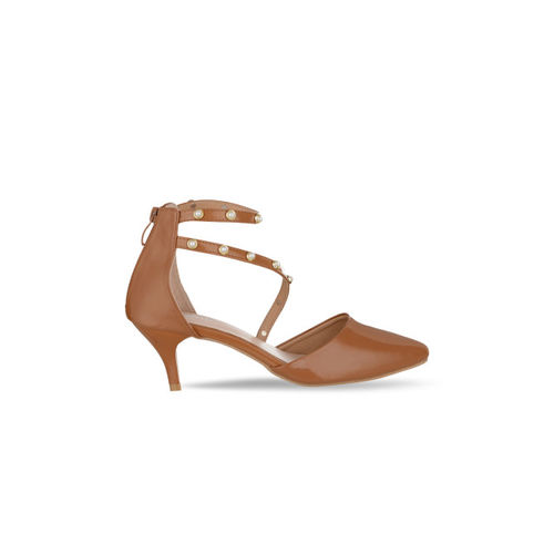 Sherrif Shoes Women Tan Brown Embellished Heels