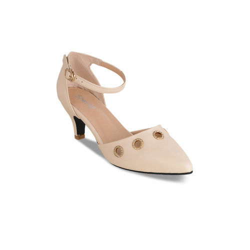 Sherrif Shoes Women Cream-Coloured Solid Heels