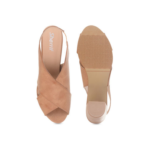 Sherrif Shoes Women Tan Solid Sandals