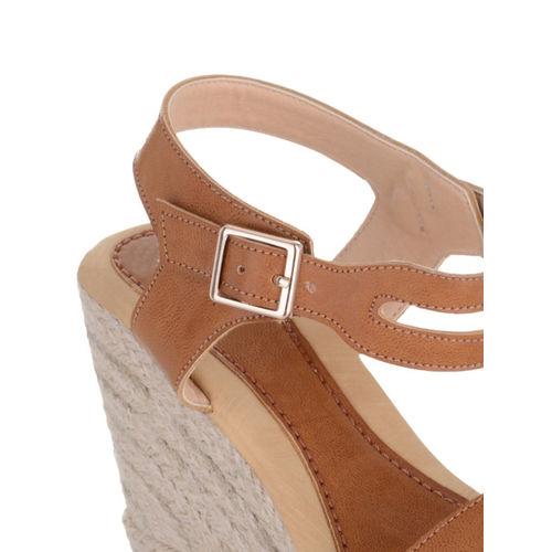 Sherrif Shoes Women Tan Brown Solid Sandals