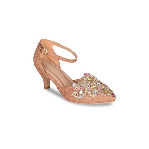 37fc0a75769 Buy Sherrif Shoes Women Copper-Toned Embellished Heels online ...