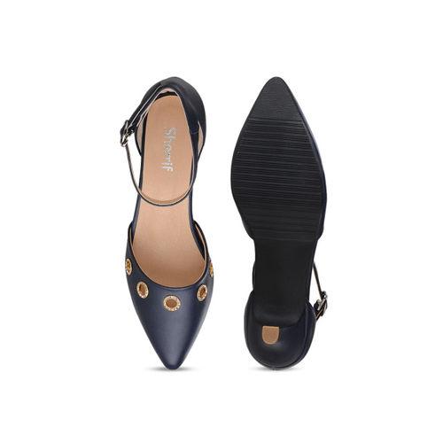 Sherrif Shoes Women Navy Blue Solid Heels