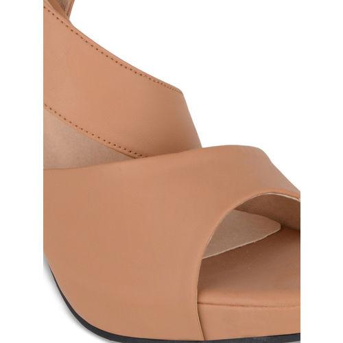 Sherrif Shoes Women Tan Brown Solid Peep Toes