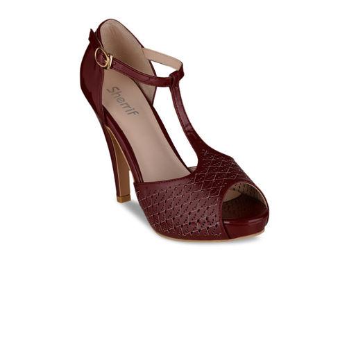 Sherrif Shoes Women Maroon Peep Toes