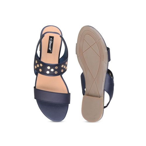 Sherrif Shoes Women Navy Blue Embellished Open Toe Flats