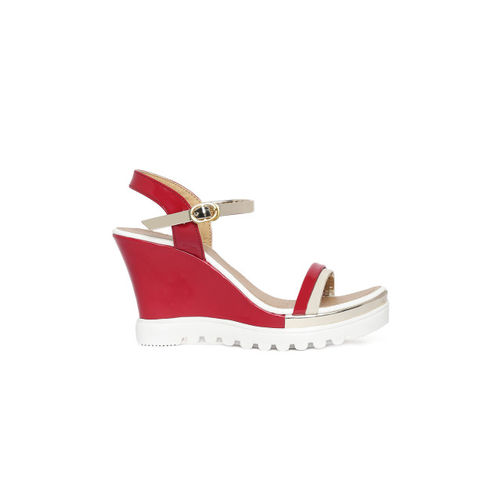 Wood Brough Women Red Colourblocked Sandals
