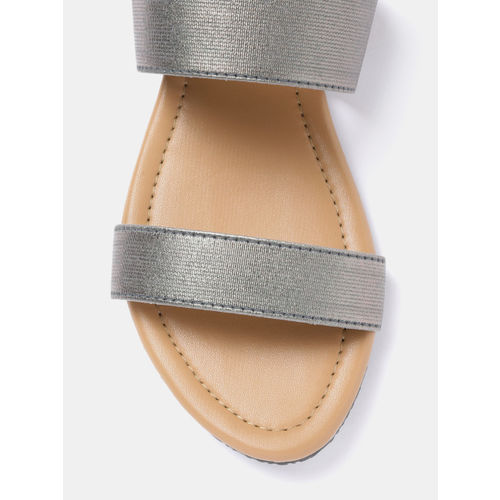 GNIST Women Gunmetal-Toned Solid Open Toe Flats