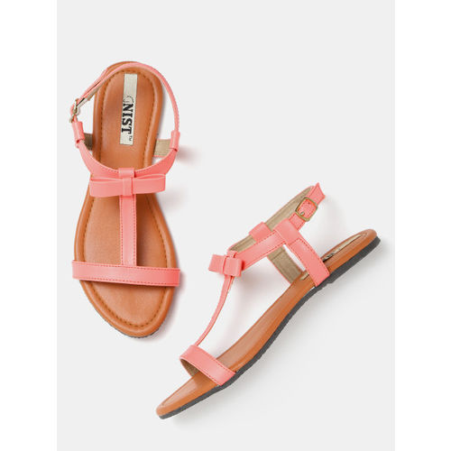 GNIST Women Pink Solid Open Toe Flats Sandals