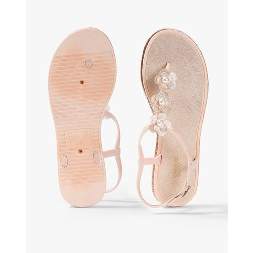 Ginger by Lifestyle Women Pink Embellished Open Toe Flats