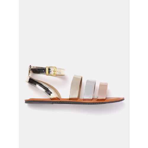 GNIST Women Gold-Toned Solid Open Toe Flats