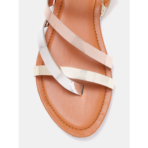 GNIST Women Silver-Toned & Gold-Toned Solid One Toe Flats Sandals